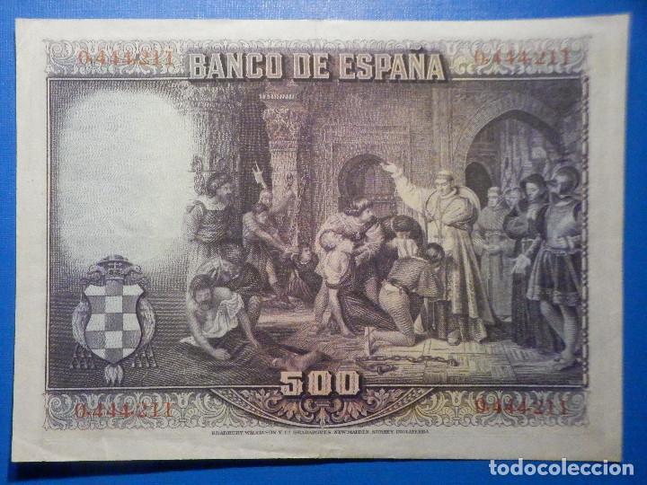 Billetes españoles: Billete 500 Pesetas - 15 de Agosto 1928 -Cardenal cisneros - Alfonso XIII - - Foto 5 - 35733591