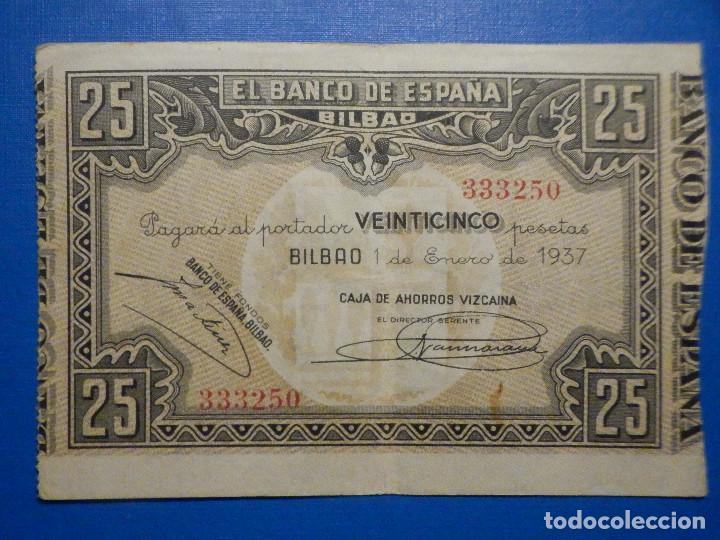 BILLETE 25 PTS - PESETAS - AÑO 1937, 1 DE ENERO BANCO DE ESPAÑA - BILBAO - CAJA DE AHORROS VIZCAINA (Numismática - Notafilia - Billetes Españoles)