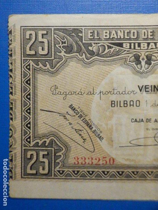 Billetes españoles: Billete 25 Pts - Pesetas - Año 1937, 1 de Enero Banco de España - Bilbao - Caja de Ahorros Vizcaina - Foto 2 - 34263475
