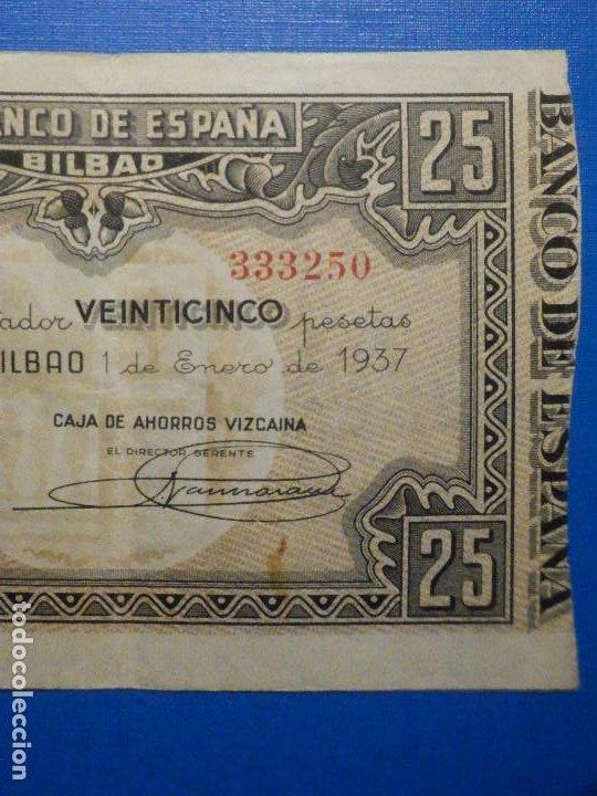 Billetes españoles: Billete 25 Pts - Pesetas - Año 1937, 1 de Enero Banco de España - Bilbao - Caja de Ahorros Vizcaina - Foto 3 - 34263475