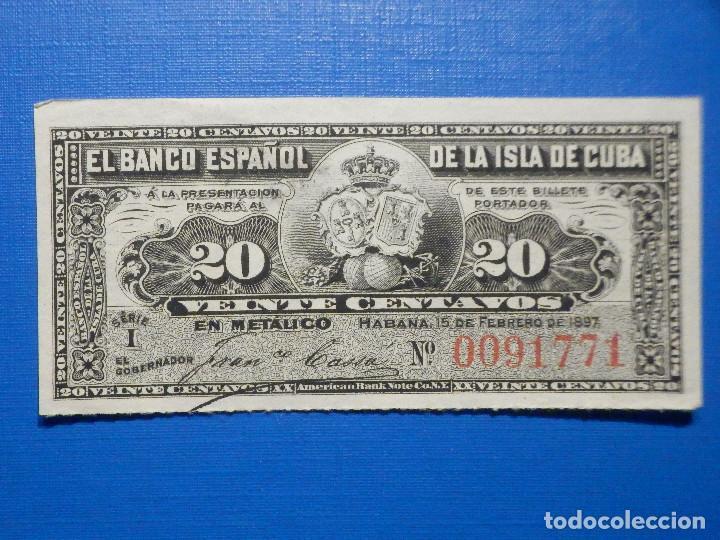 20 CENTAVOS - 15 DE FEBRERO AÑO 1897 - BANCO ESPAÑOL DE LA ISLA DE CUBA - (Numismática - Notafilia - Billetes Españoles)