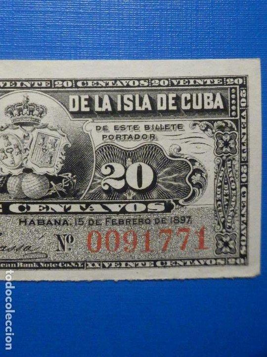 Billetes españoles: 20 centavos - 15 de Febrero año 1897 - Banco Español de la Isla de Cuba - - Foto 4 - 34284678