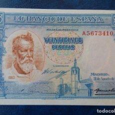 Billetes españoles: SC - SERIE A - BILLETE DE 25 PESETAS DE 1936 - SOROLLA. Lote 286347033