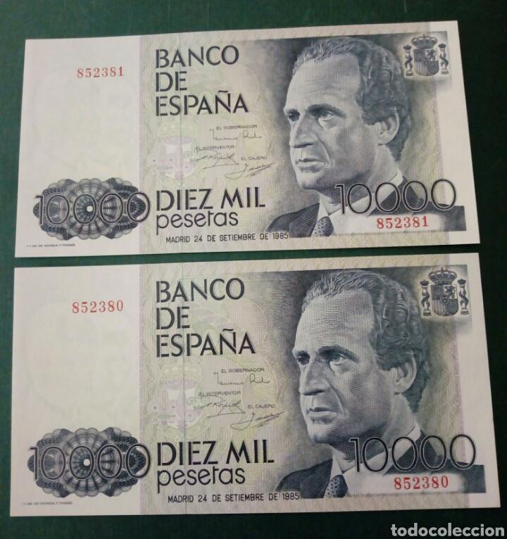 2 BILLETES CORRELATIVOS 10000 PESETAS SIN SERIE PLANCHA (Numismática - Notafilia - Billetes Españoles)