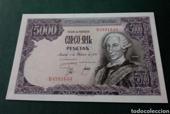 BILLETE 5000 PESETAS 1976 SERIE B PLANCHA (Numismática - Notafilia - Billetes Españoles)