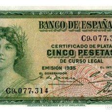 Billetes españoles: BILLETE DE ESPAÑA DE 5 PESETAS DE 1935 BUEN ESTADO. Lote 286765683