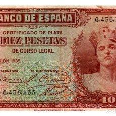 Billetes españoles: BILLETE DE ESPAÑA DE 10 PESETAS DE 1935 MANCHADO. Lote 286765743