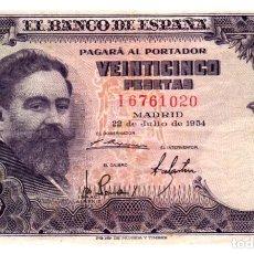 Billetes españoles: BILLETE DE ESPAÑA DE 25 PESETAS DE 1954 MANCHADO. Lote 286765923