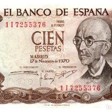 Billetes españoles: BILLETE DE ESPAÑA DE 100 PESETAS DE 1970 CIRCULADO. Lote 286765993