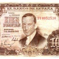 Billetes españoles: BILLETE DE ESPAÑA DE 100 PESETAS DE 1953 CIRCULADO. Lote 286766043