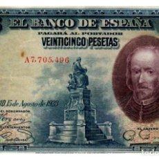 Billetes españoles: BILLETE DE ESPAÑA DE 25 PESETAS DE 1928 MANCHADO. Lote 286766163