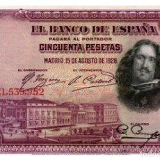 Billetes españoles: BILLETE DE ESPAÑA DE 50 PESETAS DE 1928 MANCHADO. Lote 286766218