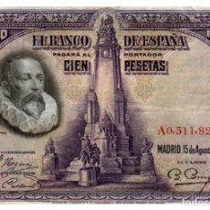 Billetes españoles: BILLETE DE ESPAÑA DE 100 PESETAS DE 1928 MANCHADO. Lote 286766288