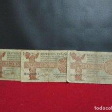 Billetes españoles: 3 BILLETES 1 PESETA EMISION 1937 CIRCULADOS. Lote 286943668