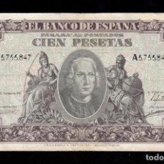 Billetes españoles: 100 PESETAS 1940 SERIE A MBC-. Lote 286948783
