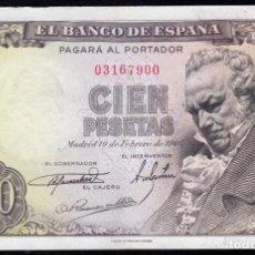 Billetes españoles: 100 PESETAS 1946 SIN SERIE MBC+. Lote 286949113