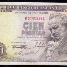 Billetes españoles: 100 PESETAS 1946 SERIE B MBC. Lote 286949328