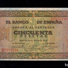 Billetes españoles: 50 PESETAS 1938 SERIE D MBC+. Lote 286951998