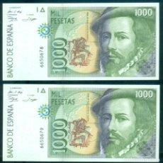 Billets espagnols: ESPAÑA - PAREJA CORRELATIVA 1000 PESETAS EMISIÓN AÑO 1992. SIN SERIE Y SIN CIRCULAR.. Lote 287155058