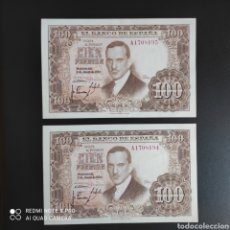 Billetes españoles: 100 PESETAS 1953 SERIE A. Lote 287217588