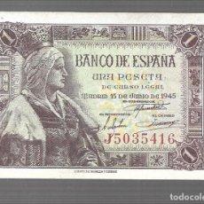 Billets espagnols: BILLETE DE FRANCO 1 PESETA PLANCHA ISABEL LA CATOLICA 1945 EL QUE VES. Lote 287327208