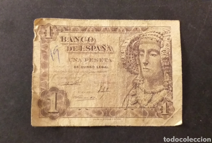 BILLETE DE 1 PESETA ESPAÑA AÑO 1948 DAMA DE ELCHE (Numismática - Notafilia - Billetes Españoles)