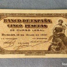Billetes españoles: BILLETE DE ESPAÑA 5 CINCO PESETAS BURGOS 18 DE JULIO 1937 SERIE C SIN CIRCULAR PLANCHA ORIGINAL. Lote 287898993
