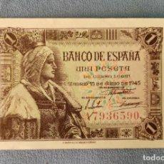 Billetes españoles: BILLETE DE ESPAÑA 1 PESETA MADRID 15 DE JUNIO 1945 SERIE A SIN CIRCULAR PLANCHA ORIGINAL. Lote 287904978