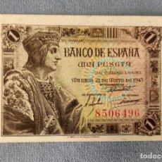 Billetes españoles: BILLETE DE ESPAÑA 1 PESETA MADRID 21 DE MAYO 1943 SIN SERIE SIN CIRCULAR PLANCHA ORIGINAL. Lote 287907458
