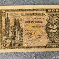 Billetes españoles: BILLETE DE ESPAÑA 2 PESETAS BURGOS 30 DE ABRIL 1938 SERIE D SIN CIRCULAR PLANCHA ORIGINAL. Lote 287908628
