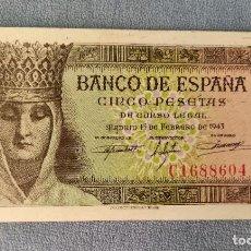 Billetes españoles: BILLETE DE ESPAÑA 5 PESETAS MADRID 13 DE FEBRERO 1940 SERIE C SIN CIRCULAR PLANCHA ORIGINAL. Lote 287909818