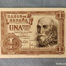 Billetes españoles: BILLETE DE ESPAÑA 1 PESETA MADRID 22 DE JULIO 1953 SERIE A SIN CIRCULAR PLANCHA ORIGINAL. Lote 287923958