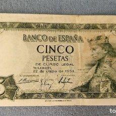 Billetes españoles: BILLETE DE ESPAÑA 5 PESETAS MADRID 22 DE JULIO 1954 SERIE K EN MUY BUEN ESTADO ORIGINAL. Lote 287927203