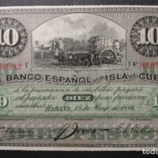 Banconote spagnole: CUBA 10 PESOS SIN PLATA 1896 SC-. Lote 288201188