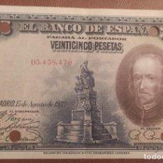 Billetes españoles: 25 PESETAS 1928 (SERIE D) EBC. Lote 288391088