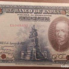 Billetes españoles: 25 PESETAS 1928 (SERIE E) EBC. Lote 288391178