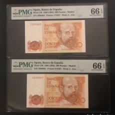 Billetes españoles: PAREJA BILLETES CORRELATIVOS 200 PESETAS PMG 66 / 66 SIN SERIE. Lote 288396298