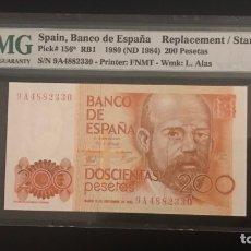 Billetes españoles: BILLETE 200 PESETAS 1980 PMG 66 SERIE 9A. Lote 288396573