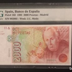 Billetes españoles: BILLETE 2000 PESETAS 1992 PMG 66 SIN SERIE. Lote 288407448