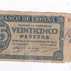 Billetes españoles: 25 PESETAS-21 DE NOVIEMBRE 1936-SERIE E. Lote 288569008