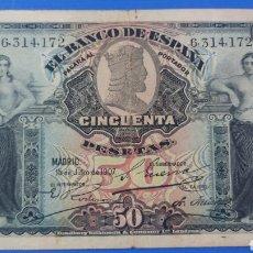 Banconote spagnole: BILLETE 50 PESETAS 1907. Lote 288999398