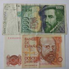Billetes españoles: LOTE BILLETES 1000 PESETAS SERIE 4F 1992 Y 200 PESETAS SERIE E 1980. Lote 289017953