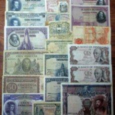 Billetes españoles: 20 BILLETES DE ALFONSO XIII, 2ª REPUBLICA, LOCALES GUERRA CIVIL Y DEL ESTADO ESPAÑOL. LOTE 1701. Lote 289399943
