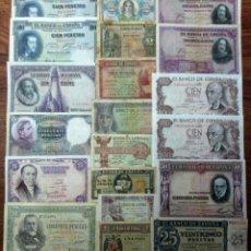Billetes españoles: 20 BILLETES DE ALFONSO XIII, 2ª REPUBLICA, Y DEL ESTADO ESPAÑOL. LOTE 1704. Lote 289421833