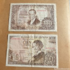 Billetes españoles: LOTE DE 2 BILLETES 100 PESETAS 1953 SERIE J Y 100 PESETAS 1965 SERIE B. Lote 289424173