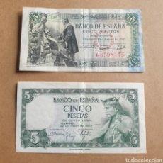 Billetes españoles: LOTE DE 2 BILLETES DE 5 PESETAS 1945 SERIE G Y 1954 SERIE U. Lote 289427263