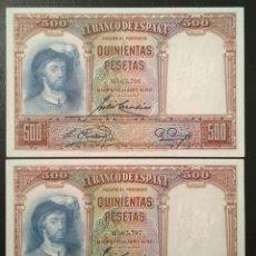Billetes españoles: PAREJA CORRELATIVA 500 PTS 1931 SIN SERIE 0063396/7 Nº BAJISIMO, SC/PLANCHA. Lote 289899033
