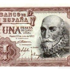 Billetes españoles: BILLETE DE ESPAÑA DE 1 PESETA DE 1953 CIRCULADO MARQUES DE SANTA CRUZ. Lote 291964193