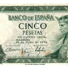 Billetes españoles: BILLETE DE ESPAÑA DE 5 PESETAS DE 1954 MANCHADO. Lote 291964263