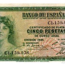 Billetes españoles: BILLETE DE ESPAÑA DE 5 PESETAS DE 1935 ROTURA EN UN LADO. Lote 291964293